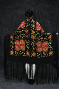 1920s Silk Shawl with Fringe and Rose Embroidery -- these 20s shawls are lovely and a great way to dress up a modern look with a touch of vintage elegance.