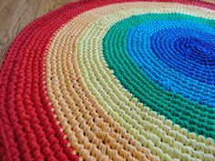 3' Custom Rainbow Rag Rug by HandmadeMichelle on Etsy, $70.00