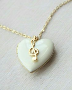 Musical White Enamelled Heart Locket with Treble Clef Music Jewelry, Cute Jewelry, Jewelry Box, Jewelery, Jewelry Accessories, Jewelry Necklaces, Bullet Jewelry, Locket Charms, Heart Locket