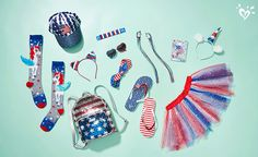 The most awesome accessories in red, white & blue! Girls Sports Clothes, Girls Fashion Clothes, Kids Fashion, Justice Clothing, Justice Outfits, School Accessories, Justice Accessories, Kids Mma, Princess Invitations