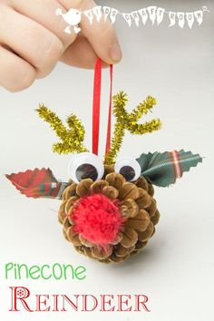 Adorable Pinecone Reindeer Craft |Featured with 33+ Handmade Christmas Ornaments to Make with Your Kids! {OneCreativeMommy.com}
