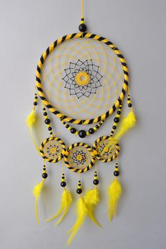 Hufflepuff Dream Catcher Wall Hanging Harry Potter Yellow