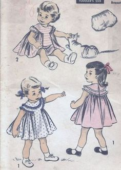 Adorable Little Girls Butterick Dress and Pantie Pattern