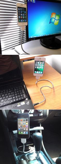 A great example of exploiting material properties, the Une Bobine takes the segmented, flexible metal cables of the sort used in industrial light fixtures and adapts it for iPhone charging, allowing the cable itself to serve as a stand. Iphone Holder, Iphone Stand, Iphone Charger, Iphone Phone, Cell Phone Holder, Iphone S6 Plus, Industrial Light Fixtures, Properties Of Materials, Charging Cable