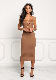 Mocha Plunge Cross Strap Suedette Dress - Bodycon - Dresses