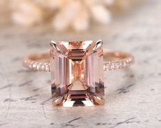 Emerald Cut Morganite Diamond Solitaire Engagement Ring Real Rose Gold - Morganite Engagement Ring - Ideas of Morganite Engagement Ring - 0 The post Emerald Cut Morganite Diamond Solitaire Engagement Ring Real Rose Gold appeared first on Awesome Jewelry. Morganite Engagement, Engagement Ring Cuts, Rose Gold Engagement Ring, Diamond Wedding Bands, Wedding Rings, Bridal Rings, Gold Wedding, Wedding White, Dream Wedding
