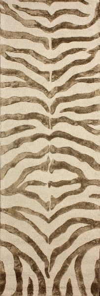 Safari Contemporary Zebra Print with Faux Silk Highlights Brown Rug | Contemporary Rugs