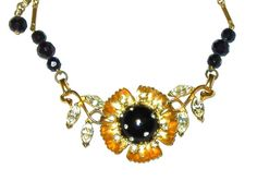 Black Plastic Orb and Rhinestone Flower Necklace Now on SALE