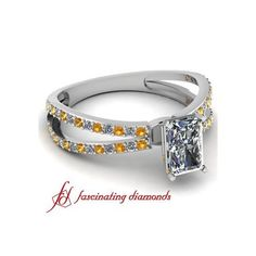Pave Set Cross Split Band Enticing Engagement Ring With Yellow... ($629)