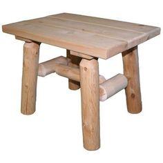 Cedar Log End Table - Natural #LogCabinFurniture