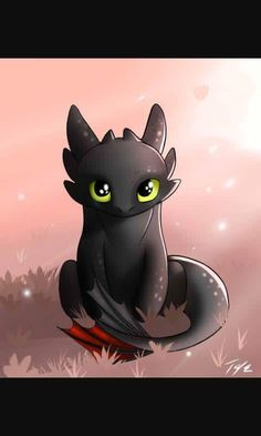 Little chibi Toothless. Cute Toothless, Toothless And Stitch, Toothless Dragon, Toothless Tattoo, Cute Disney Drawings, Cute Animal Drawings, Drawing Disney, Cute Dragons, Cute Disney Wallpaper