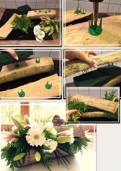 flowers arrangements decoration wood diy blumengestecke dekoration holz diy This image has get. Wine Bottle Crafts, Mason Jar Crafts, Mason Jar Diy, Diy Flowers, Flower Decorations, Wedding Decorations, Table Decorations, Wood Flowers, Flower Ideas