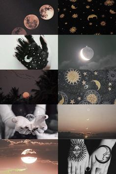 sun and moon child sunrises sunsets moon phases astrology collage skogsrå Witch Aesthetic, Aesthetic Collage, Aesthetic Rings, Creation Art, Mystique, Fantasy Kunst, Moon Child, Wiccan, Witchcraft