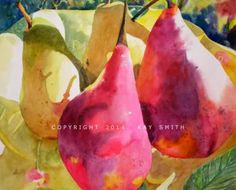 Red Anjou and Yellow Bartlett Pears, painting by artist Kay Smith