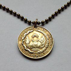 1974 Indonesia 10 Rupiah coin jewelry pendant necklace FAO money savings Garuda Pancasila good luck charm keepsake piggy bank No.001207 by acnyCOINJEWELRY on Etsy