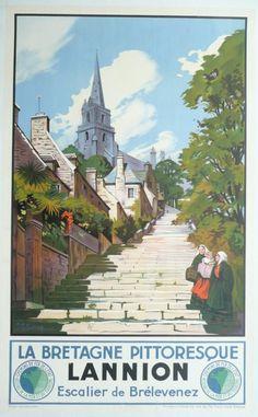 ✨  Maurice TOUSSAINT - PLM, LANNION la Bretagne pittoresque, Escalier de Brelevenez, ca. 1930. Printer: ETABTS DELATTRE - PARIS