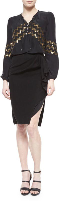 Altuzarra Zigzag Sequin Peasant Blouse & Side-Ruffle High-Slit Skirt