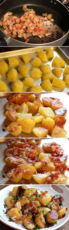 If you're trying to avoid carbs, I'm sorry. You can't undo seeing these delicious oven roasted potatoes, and I'm guessing that now that you've seen them the score will be: Potatoes: 1, willpower: 0.