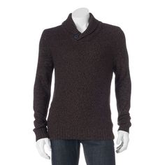 Men's Method Classic-Fit Heathered Shawl-Collar Sweater, Size: