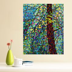 "Fanciful fun! This colorful and original painting by Canadian artist Mandy Budan is now available as a wall sticker decal. Pine Sprites captures colorful sprites dancing around a lone pine tree in the summer afternoon. This abstract art wall sticker will make you feel as if you have entered a secret forest where fantasy meets reality. The nature themed wall decal is available in 4 sizes: S-8.85""w x 11""h; M-18.5""w x 15""h; L-30.5""w x 38.5""h; XL-38.5""w x 48""h. Perfect for walls, mirrors…"