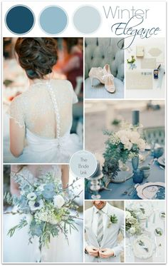 True winter colours. Inspiration board. No reason a Christmas wedding can't be in blue and gray tones...