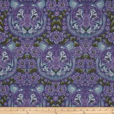 Tula Pink Eden Crouching Tiger Amethyst from @fabricdotcom  Designed by Tula Pink for Free Spirits Fabric, this cotton print fabric is perfect for quilts, home décor accents, craft projects and apparel. Colors include purple, green, turquoise and white.