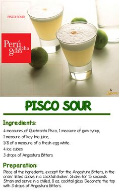 Happy Hour! Delicious #PiscoSour Recipe - #Peru's national drink.