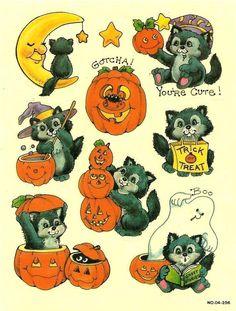 Vintage Sticker Sheet Halloween Kitty Cat Very Rare Fete Halloween, Vintage Halloween, Halloween Crafts, Happy Halloween, Halloween Decorations, Halloween Costumes, Halloween Illustration, Cat Pumpkin, Halloween Stickers