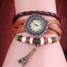 Retro Leather Eiffel Tower Bracelet Watches-brown