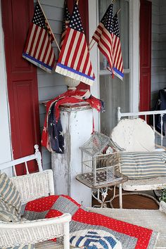 Vintage patriotic porch decor old glory. Let Freedom Ring, Home Of The Brave, Patriotic Decorations, Old Glory, Happy 4 Of July, Veterans Day, Porch Decorating, Decorating Ideas, Interior Decorating