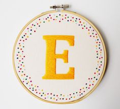 Personalised Embroidery Art Initial/Letter Hoop Art *Choose your own colours*MADE TO ORDER - Embroidery - Embroidery & Sewing Embroidery Letters, Simple Embroidery, Embroidery Patterns Free, Hand Embroidery Patterns, Embroidery Thread, Cross Stitch Embroidery, Embroidery Tattoo, Broderie Simple, Embroidery Techniques