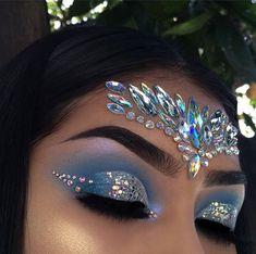 Eye makeup, gem makeup, jewel makeup, rave makeup, mermaid fantasy make Gem Makeup, Jewel Makeup, Rave Makeup, Makeup Goals, Beauty Makeup, Exotic Makeup, Hair Beauty, Peacock Makeup, Gypsy Makeup