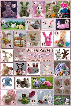 30 Adorable Seated & Crouched Bunny Rabbit Toys – via @beckastreasures with @sharonojala | 11 Easter Animal Crochet Pattern Round Ups!