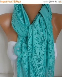 Mint Tulle Scarf Fall Scarf Cowl BridesmaidGift Bridal by fatwoman