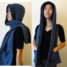 Crochet Spot hooded scarf with pockets