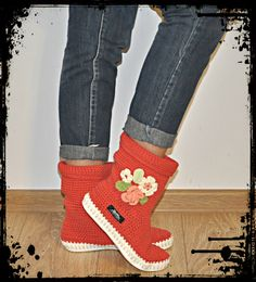Sandals – Crochet boots 65% cotton 35% acril UKI-BOHO-RED – a unique product by uki-boots on DaWanda