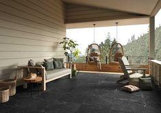 Genus Black Hammered Porcelain Tile - 24 x 24 - 100486646 Outdoor Tiles Floor, Outdoor Flooring, Flooring Ideas, Outdoor Rooms, Outdoor Living, Outdoor Furniture Sets, Outdoor Decor, Outdoor Kitchens, Outdoor Lounge