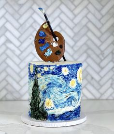 [homemade] Starry Night buttercream cake let me know your thoughts Art Birthday Cake, Pretty Birthday Cakes, Pretty Cakes, Beautiful Cakes, Amazing Cakes, Crazy Cakes, Fancy Cakes, Artist Cake, Cute Desserts