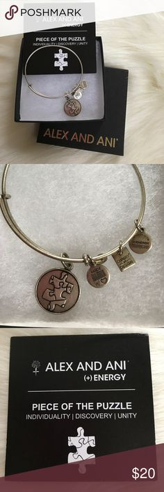 Alex and Ani Piece Of The Puzzle bracelet Super cute, Won a few times, great condition, comes with box and card Alex & Ani Jewelry Bracelets