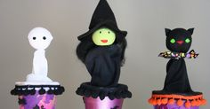 After finishing up my witch doll cone puppet  over the weekend, the girls were eager to make their own.     Guess what we did yesterday afte...