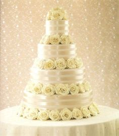 Nice big wedding cake with flowers in it