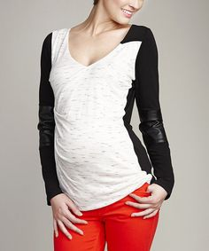 Loving this Black & White Color Block Maternity V-Neck Top on #zulily! #zulilyfinds
