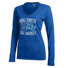 Pretty and practical, this women's long sleeve campus t-shirt will quickly become a favorite. #MTSU #blueraiders #textbookbrokers