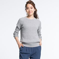 H&M - Chunky-knit Sweater - Powder melange - Ladies | Outfit Me ...