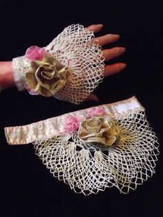 Vintage Lace Wrist Cuffs Pink and Gold Ribbon and Vintage Lace Wristlets Victorian Accessories Denim Bracelet, Fabric Bracelets, Lace Bracelet, Fabric Jewelry, Beaded Bracelets, Lace Cuffs, Lace Gloves, Sewing To Sell, Wedding Gloves