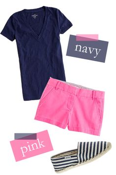 not crazy about the shoes; would likely wear flip flops but <3 the cute pink shorts & simple navy v-neck t-shirt combo :)