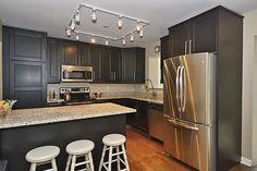 Transitional Kitchen with Flush, Craftsman Panel Cabinet Door, White Ornamental Granite, Kitchen island, Flat panel cabinets