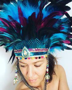 Turquoise festival feather headdress, Burning Man festival headdress, festival feather headdress, burning man crown, festival boho headdress by feathersandthreaduk on Etsy