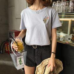 2 colores 2017 del resorte breve ramo de flores de cáñamo jersey de algodón bordado de manga corta para mujer t shirt de femme en Blusas y Camisas de Ropa y Accesorios de las mujeres en AliExpress.com   Alibaba Group