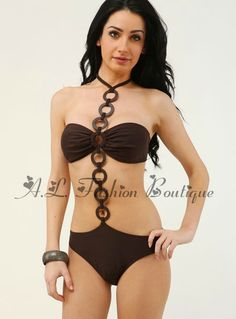 Sexy Brown Bandeau Circle Monokini